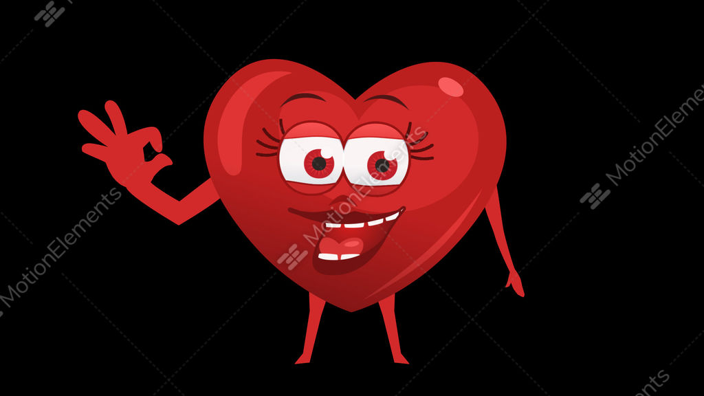 Cartoon Heart With Animated Face 6th Pose Ok Alpha Channel Stock