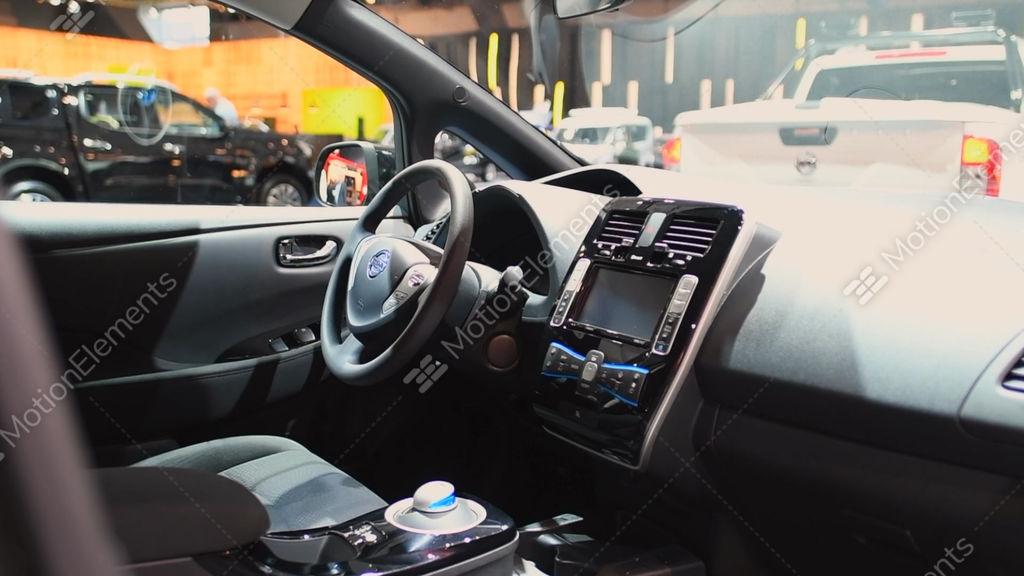 nissan leaf full electric zero emission car interior stock video footage 10193894. Black Bedroom Furniture Sets. Home Design Ideas