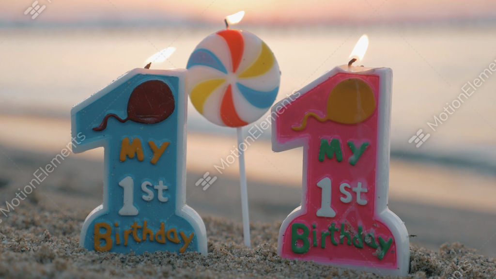 One Year Old Birthday Candle For Twins Stock Video Footage