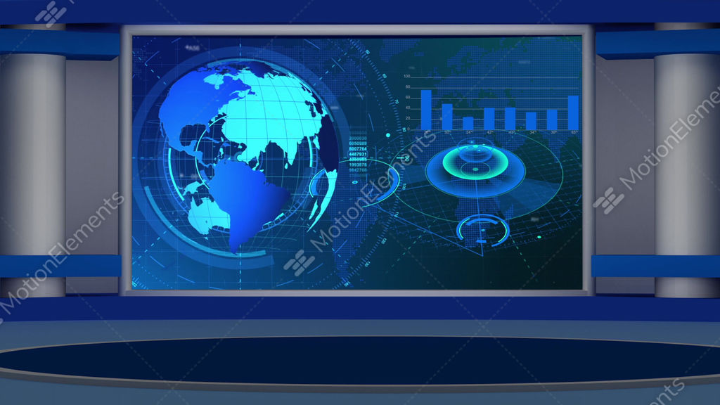 HD News 27 Virtual Studio Green Screen Background Blue Colour With Globe Stock Animation