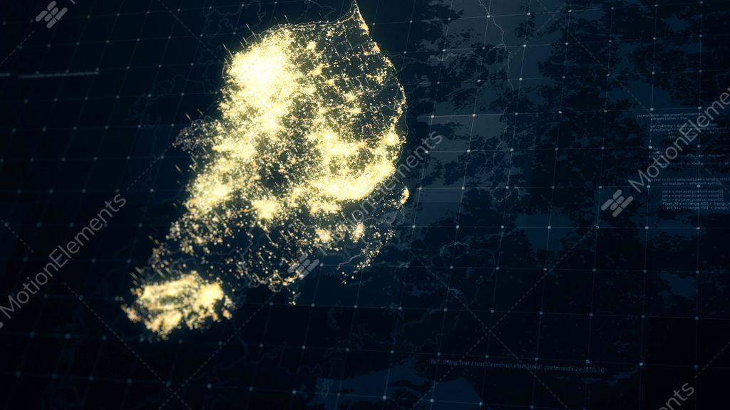 South Korea Map Night Lighting Stock Animation   10313087