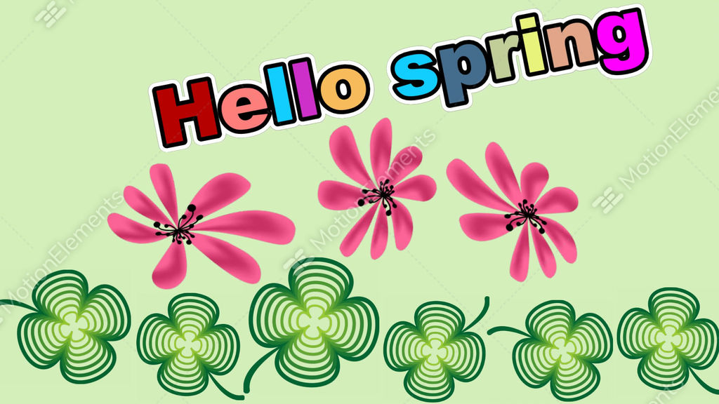 Hello spring animated banner with clover leafs and pink flowers hello spring animated banner with clover leafs and pink flowers rotating on gree stock animation 10369390 mightylinksfo