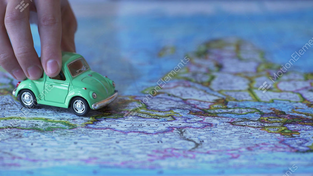 Eco Friendly Green Auto Model Driving Across Europe On World Map - Video of car driving across us map