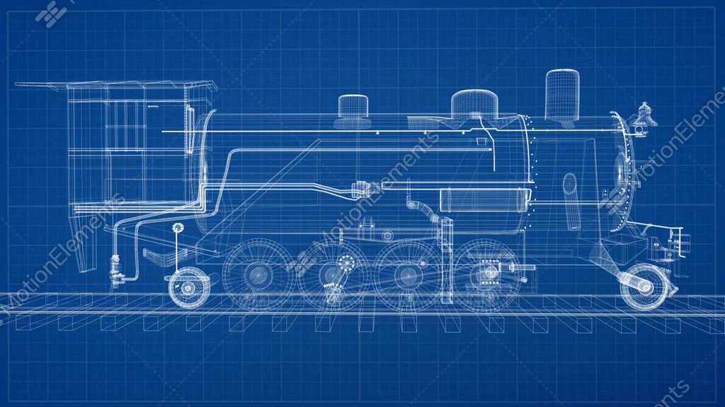 Train blueprint transition stock animation 10455515 train blueprint transition stock video footage malvernweather Gallery