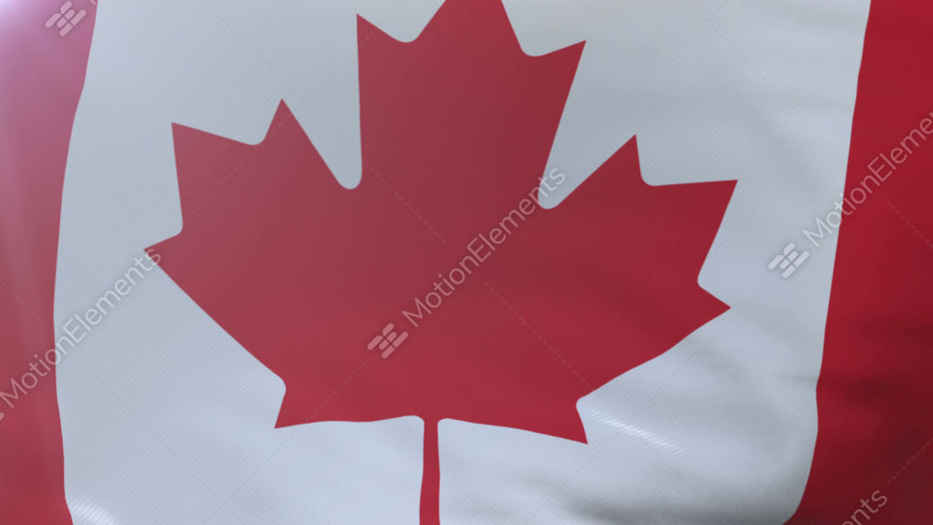 Flag Of Canada Waving On Flagpole In The Wind National Symbol Of