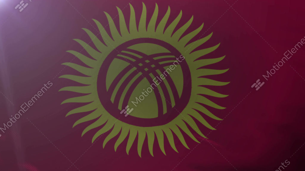 Flag Of Kyrgyzstan Waving On Flagpole In The Wind National Symbol