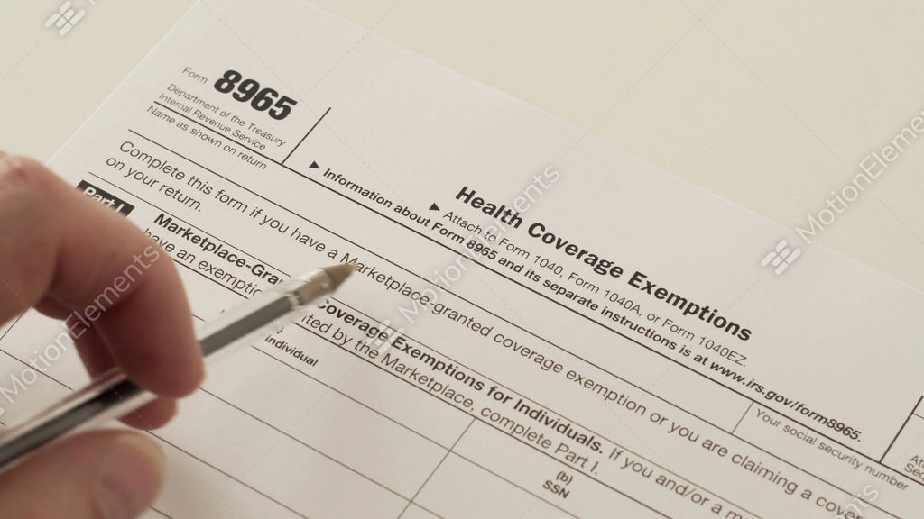 Irs Form 8965 Health Coverage Exemptions Stock Video Footage 10491641