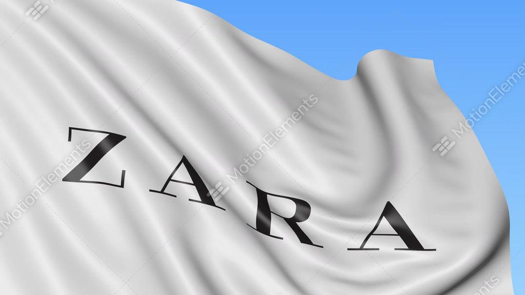 Close Up Of Waving Flag With Zara Logo Seamless Loop Blue