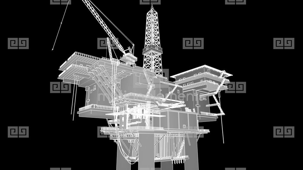 Construction Of The Oil Platform, Wireframe Stock Animation ...