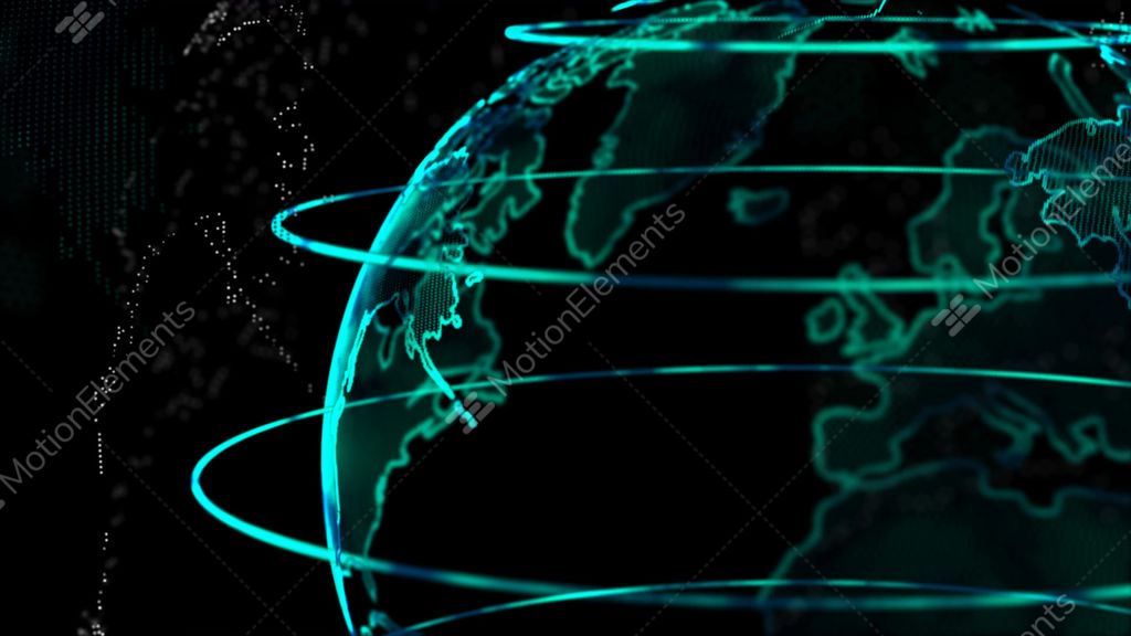 Dot World Map.4k Animation Globe With Dot World Map Element Spin On Dark And Black