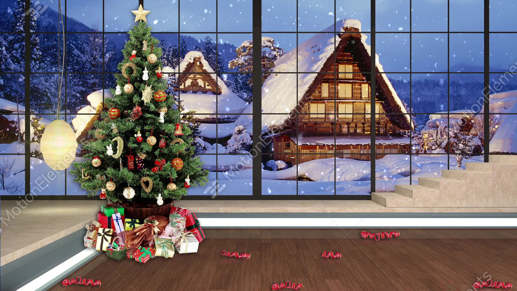 98hd christmas tv virtual studio green screen background stock video footage