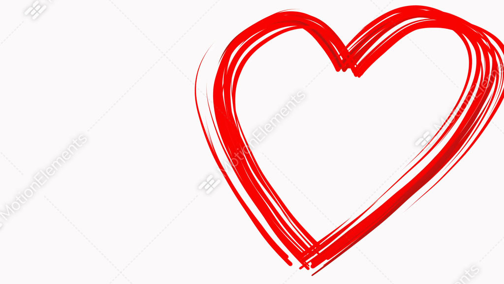Heart Shape Drawn Like By Paintbrush Red Color On White Background