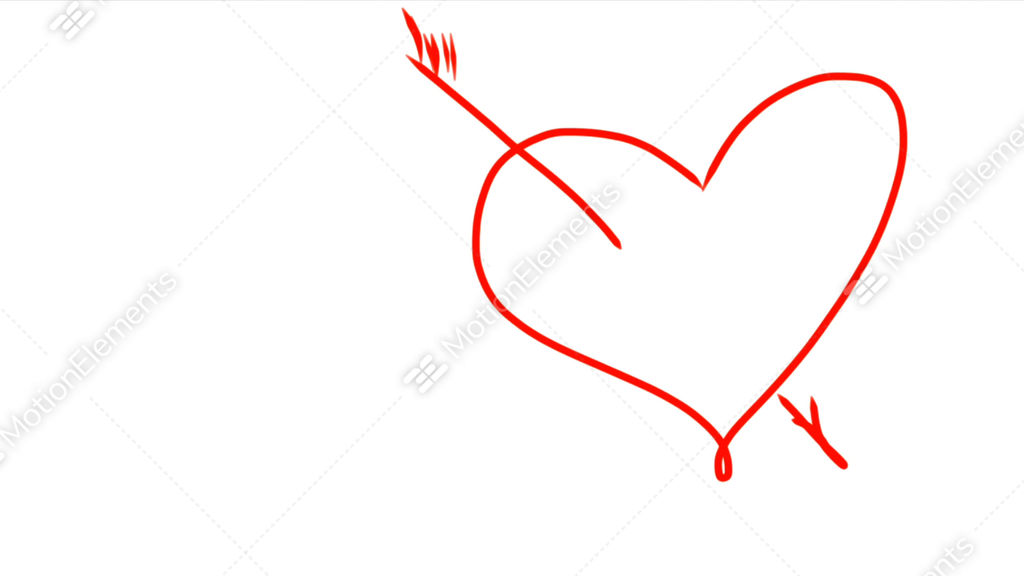 arrow went straight through heart hand drawing of red heart with