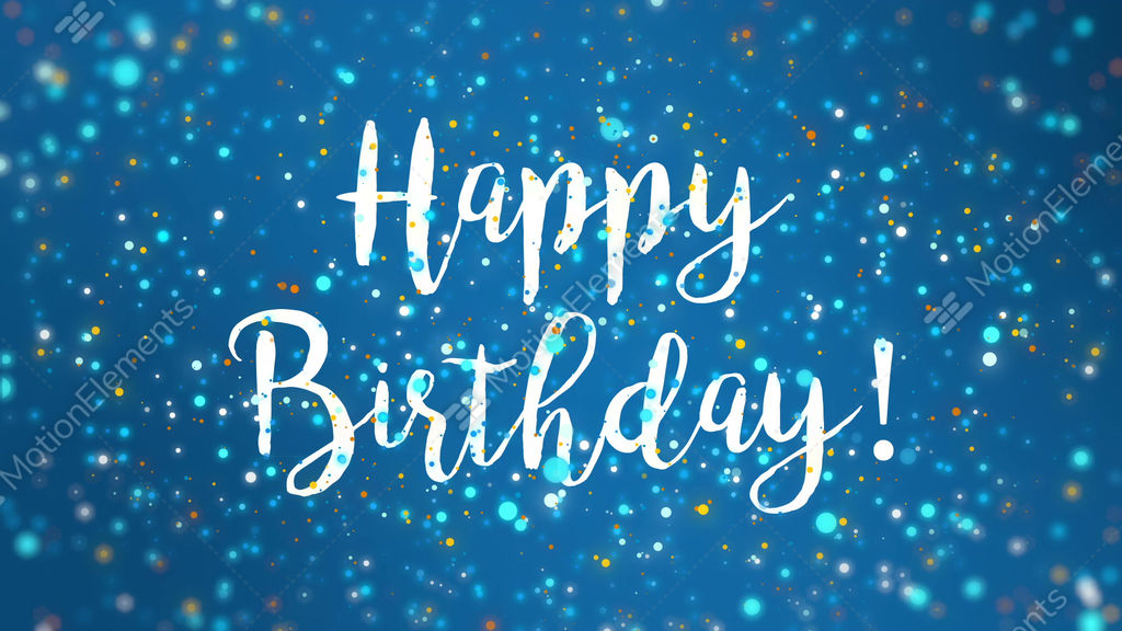 Sparkly Blue Happy Birthday Greeting Card Video Stock Animation