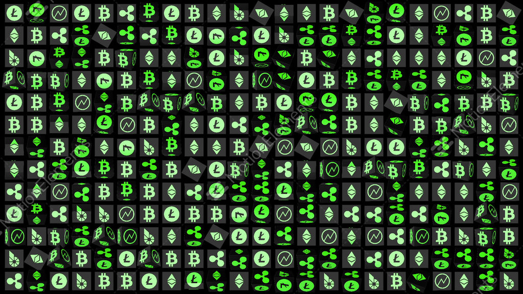 Rotating Elements With Symbols Of Currencies Icons Of World Crypto