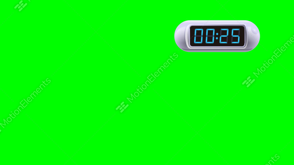 30 second digital countdown timer counter right white isolated