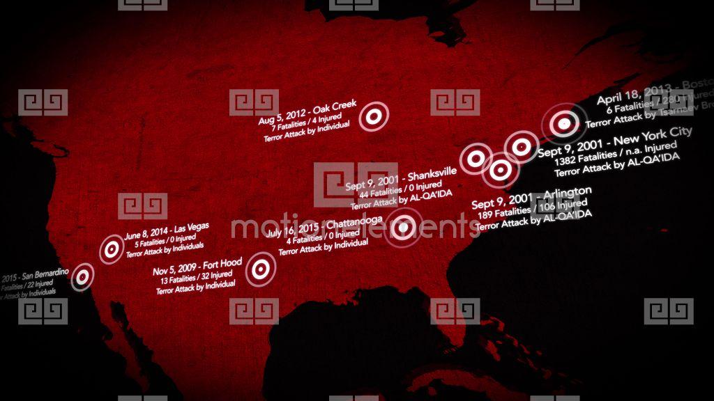 K Map Of Major Terrorist Attacks In The USA Between - Map of us terrorist attacks