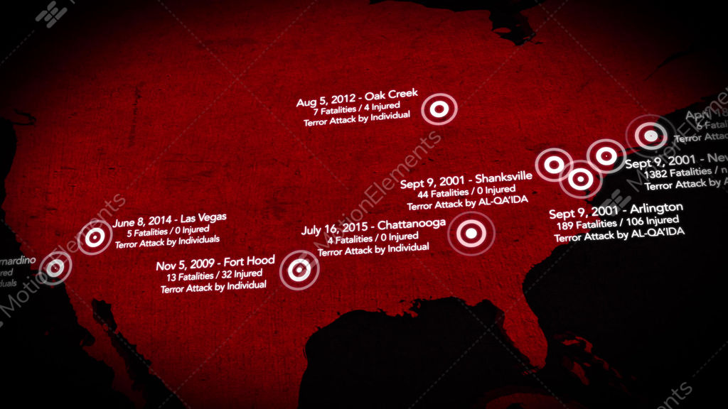K Map Of Major Terrorist Attacks In The USA Between - 4k image of us map