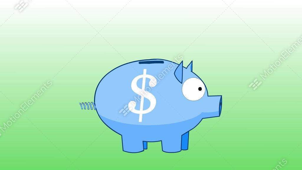 Blue Piggy Bank Cartoon
