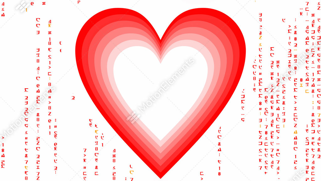 Heart Tunnel With Matrix Code Characters Animated Message For