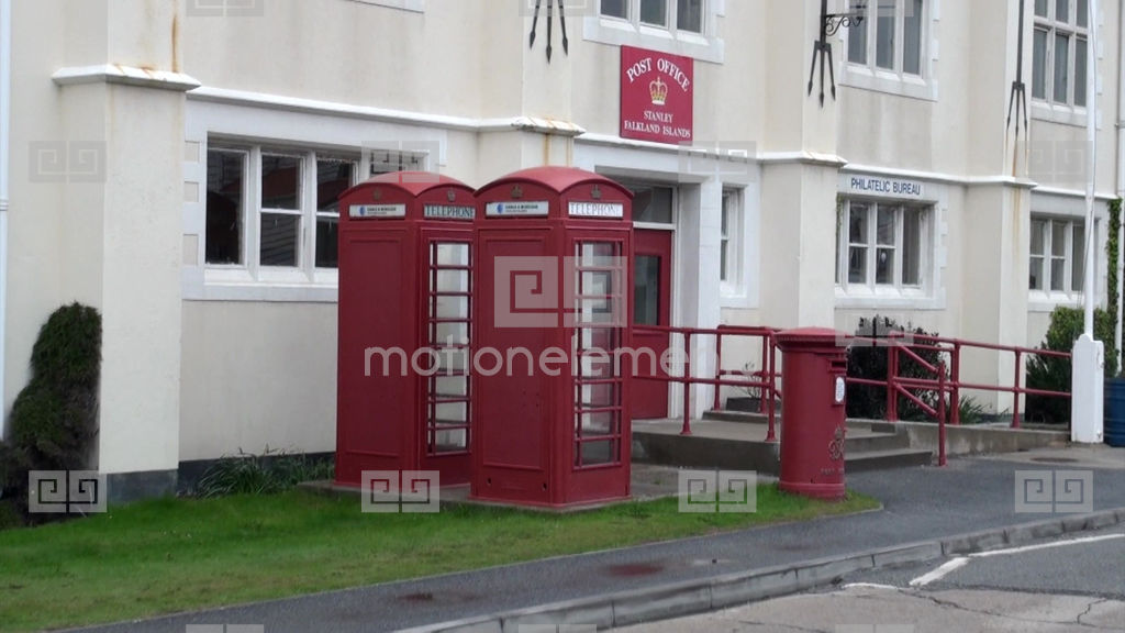 office in house. House Post Office In The City Port Harbor Of FalklandStock Video