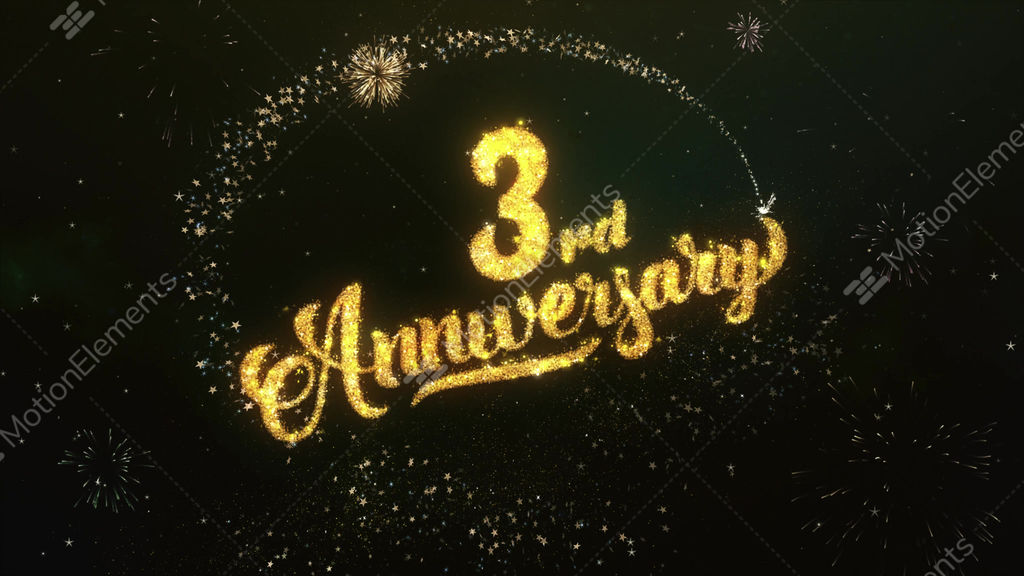 Rd anniversary greeting and wishes glitter and sparklers
