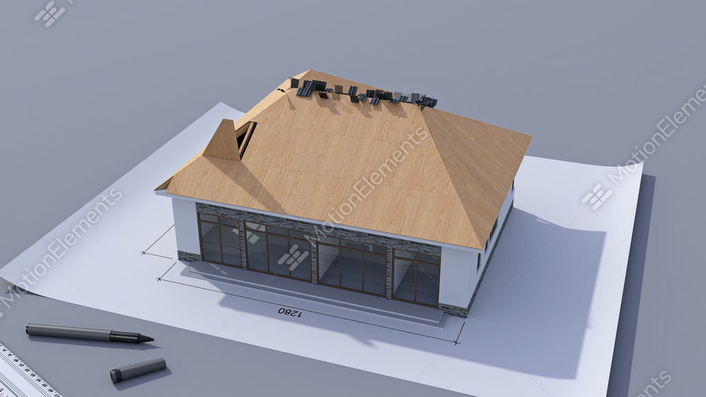 Building A House With A Hip Roof. Time Lapse 3d Animation Of House  Construction Stock Animation   9151619