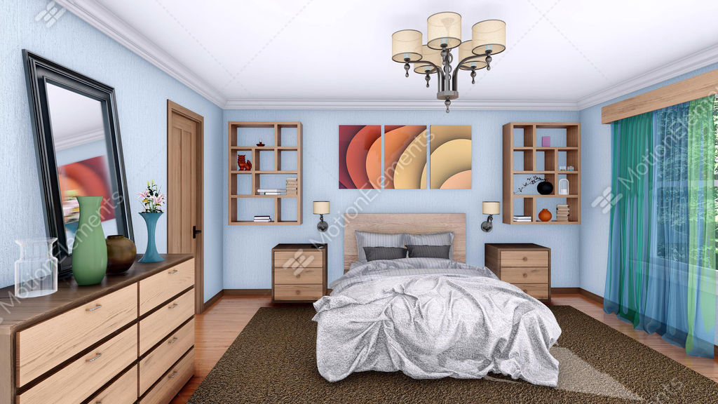 Modern Bedroom Interior Design 3D Animation Stock Video Footage