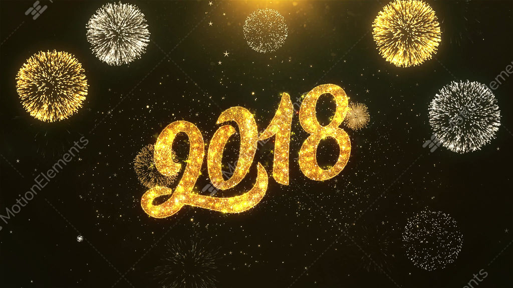 happy new year 2018 celebration wishes greeting text on stock video