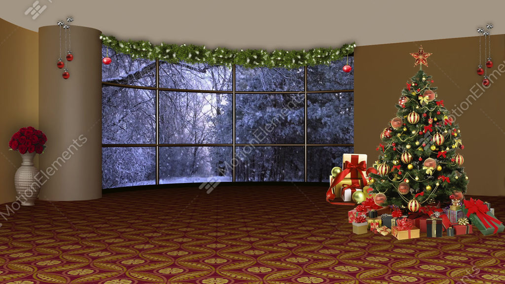 christmas tv studio set 08 virtual background loop stock video footage