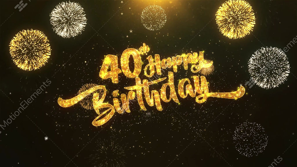 40th Happy Birthday Celebration Wishes Greeting Text On Golden