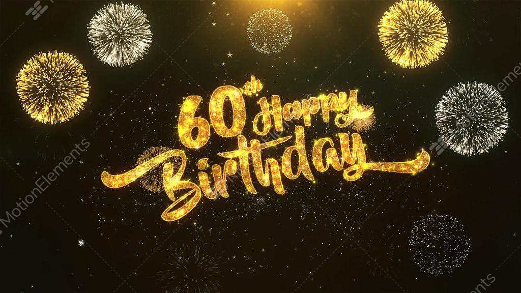 60th Happy Birthday Celebration Wishes Greeting Text On Golden Firework Stock Animation