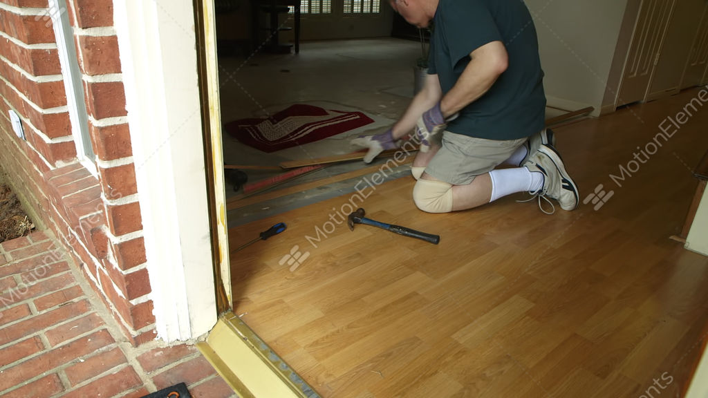 Dyi Project Of Removing Old Laminate Flooring Stock Video Footage