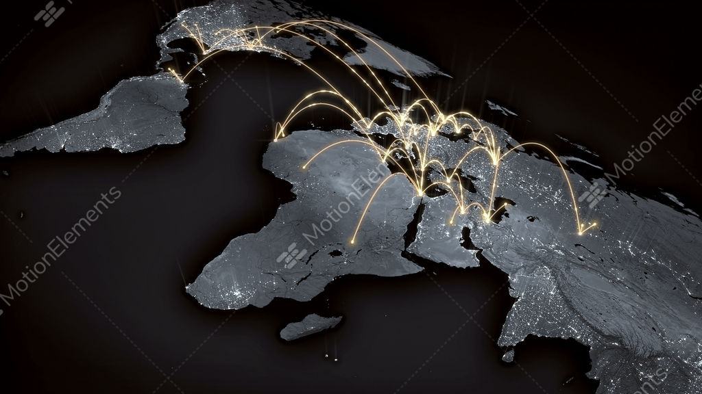 Growing Global Network Across The World Map Internet And Business