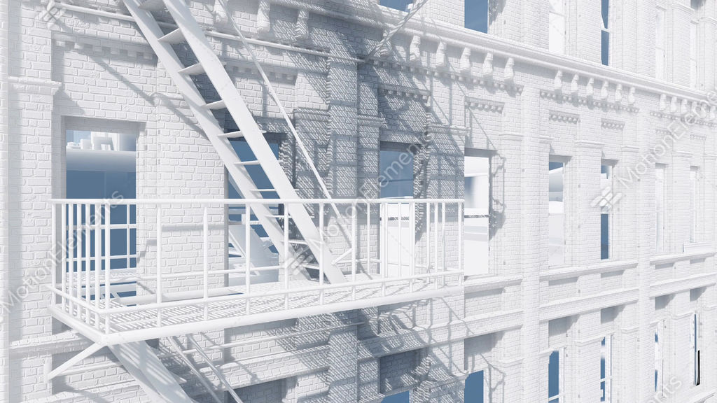 Fire Escape Staircase On Abstract Residential Building Stock Video Footage