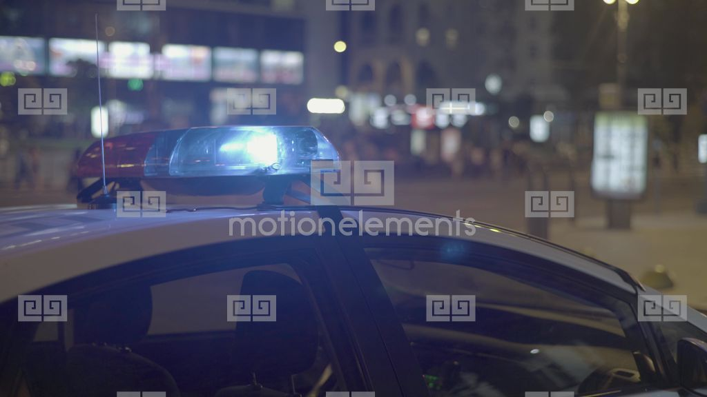 Flashing Police Lights On The Roof Of A Patrol Police Car Stock Video  Footage