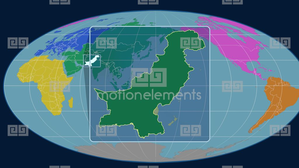 Pakistan D Tube Zoom Mollweide Projection Continents Stock Video Footage