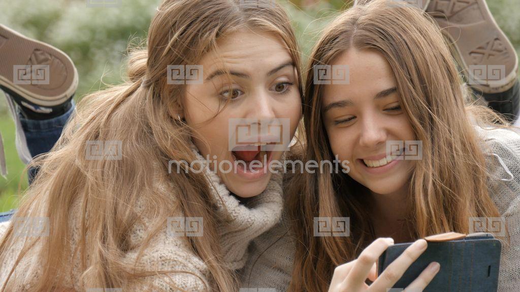 Happy Young Bff Gen Z Teen Girls On Mobile Phone Taking Selfie ...