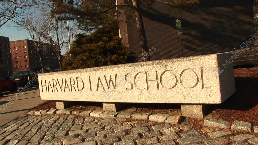 the harvard law school sign stock video footage 1506762
