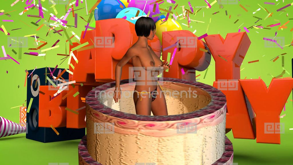 NR638 Girl Jumps Out Of Birthday Cake Stock Animation 9512966