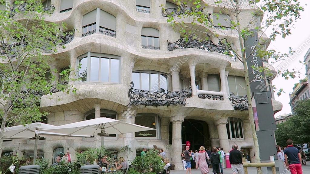 Barcelona spain casa mila la pedrera facade by gaudi stock video footage 9520688 - Casa la pedrera gaudi ...