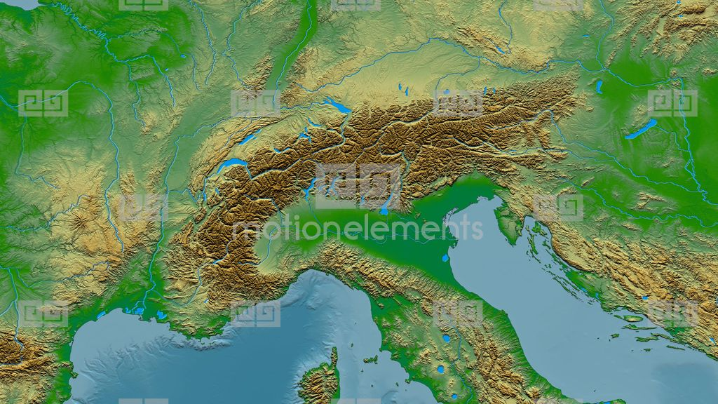 Zoom Into Alps Mountain Range - Glowed. Colored Physical Map Stock ...