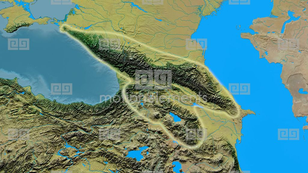 Zoom Into Caucasus Mountain Range - Glowed. Topographic Map Stock ...