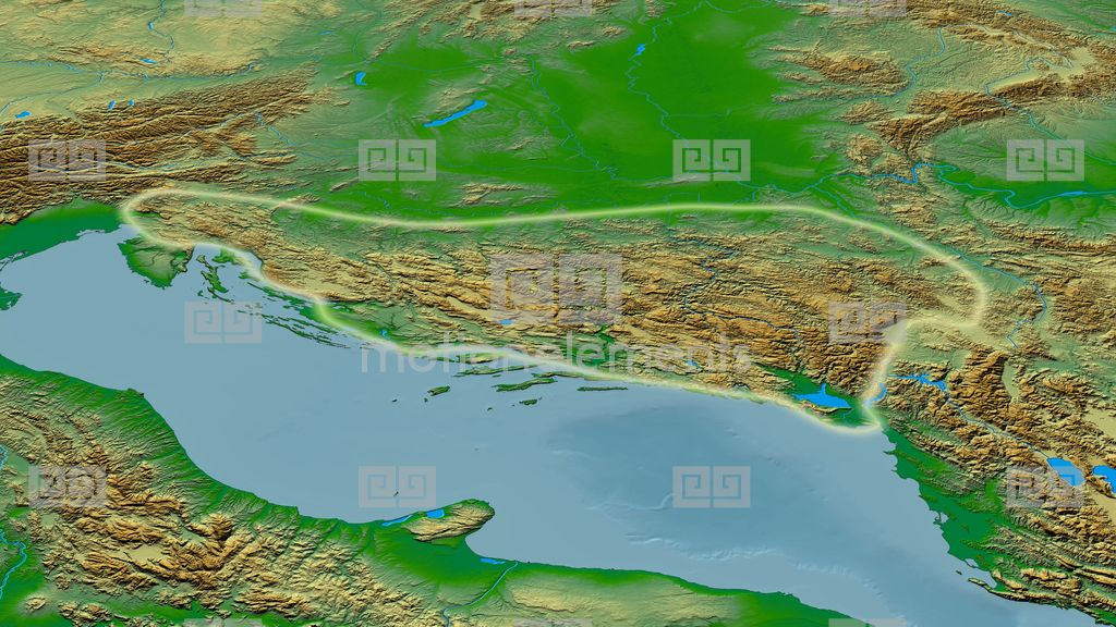 Revolution Around Dinaric Alps Mountain Range - Glowed. Colored ...