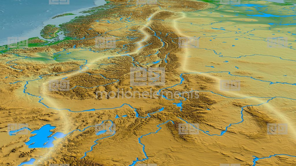 Glide Over Rocky Mountain Range - Glowed. Colored Physical Map Stock ...