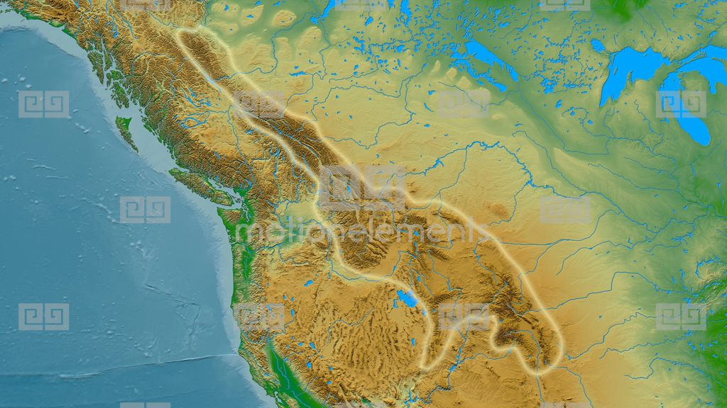 Zoom Into Rocky Mountain Range - Glowed. Colored Physical Map Stock ...