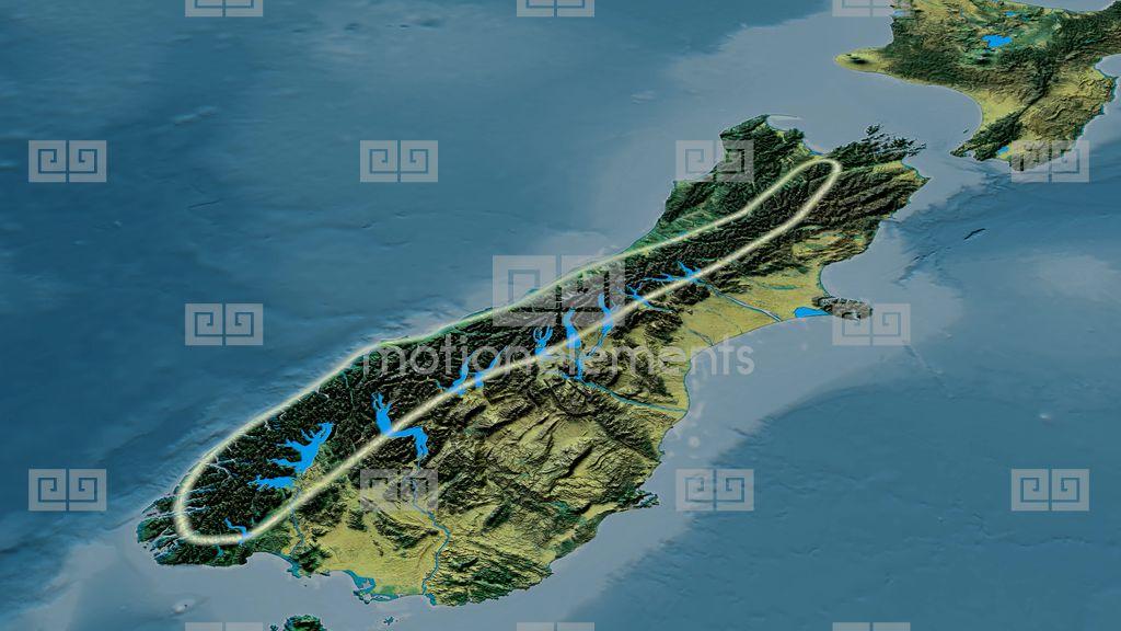 Revolution Around Southern Alps Mountain Range - Glowed. Topographic ...