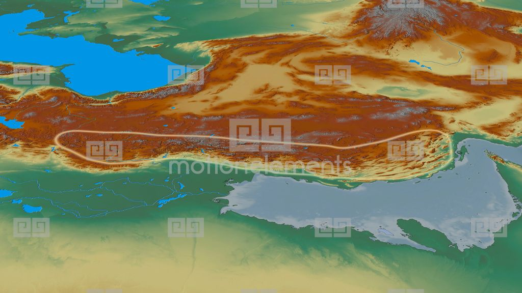 Revolution Around Zagros Mountain Range  Glowed Relief Map Stock