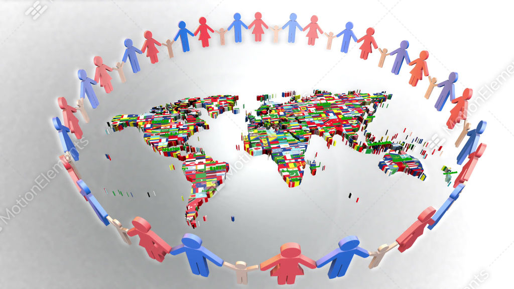People holding hands around the world map 3d stock animation 4200705 people holding hands around the world map 3d stock video footage gumiabroncs Images