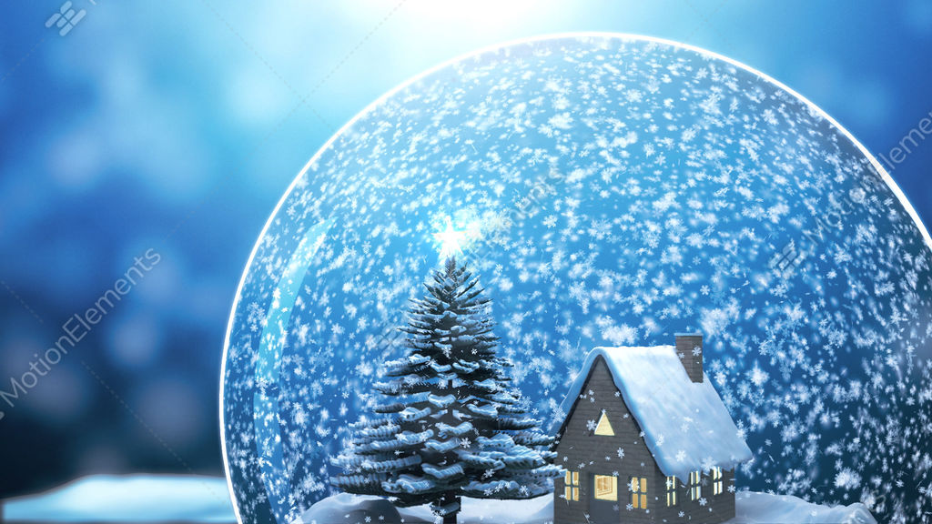 Christmas Snow Globe Snowflake Snowfall Bl Stock Animation Video Footage